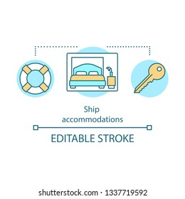Ship accommodations concept icon. Cruise deal idea thin line illustration. Travel agency offer. Cruise liners cabins, suites amenities. Vector isolated outline drawing. Editable stroke