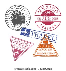 ship and airplane travel stamps mexico greece usa in colorful silhouette