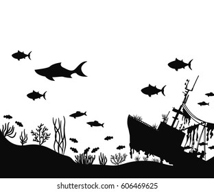 ship and algae on the seabed. fish swim near coral silhouette vector