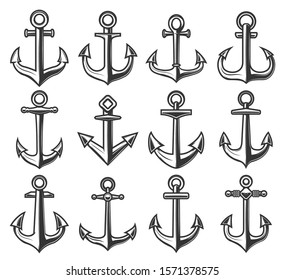 Ship anchor icons, marine adventure and sailor nautical symbols. Vector heraldic anchors isolated on white