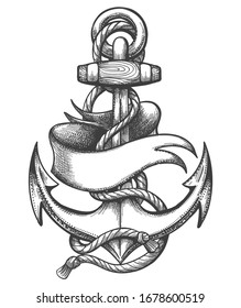 Ship Anchor with marine ropes and Blank Ribbon Old School Tattoo. Vector illustration.