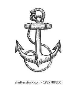 Ship anchor and rope in vintage engraving style. Sketch vector illustration