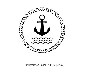 ship anchor with sea waves in a circle rope. Icon. designed for printed materials like a logo, prin clothing. Unique works for Your business.