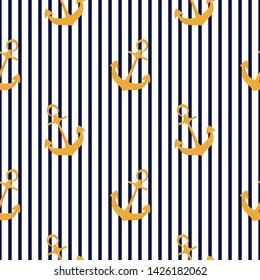 Ship anchor seamless striped pattern. Summer nautical design.