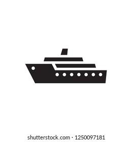 Ship - black icon on white background vector illustration. Marine sail boat concept sign. Transport symbol. Graphic design element.