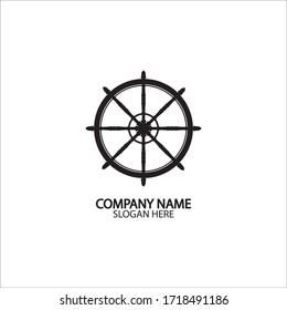 Ship and boat helm steering wheel  vector.