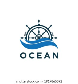 Ship and Boat Helm Steering Wheel on The Wave Water Ocean Logo design