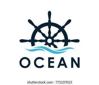Ship and Boat Helm Steering Wheel on The Wave Water Ocean Logo Symbol