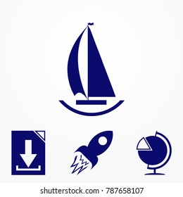 ship boat icon. Vector image for website.