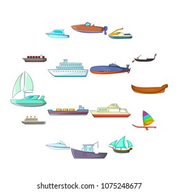 Ship and boat icons set in cartoon style. Marine and river vessels set collection vector illustration