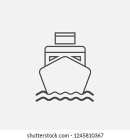 Ship boat line icon with waves