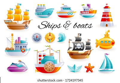 Ship boat set, vector cartoon illustration. Sea toy transport collection. 3d sail yacht, ocean cruise ship, sailboat, submarine, fishing trawler. Cute water kid icons isolated on white background