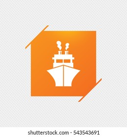 Ship or boat sign icon. Shipping delivery symbol. Orange square label on pattern. Vector