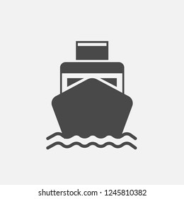 Ship boat vector icon with water waves