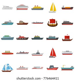 Ship and boats icons set. Flat illustration of 25 ship and boats vector icons isolated on white background