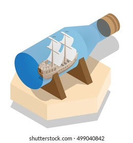 Ship in a bottle. Isometric. Vector illustration.