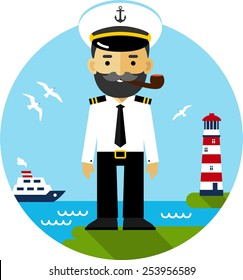 Ship Captain In Uniform On Sea Cost Background Flat Style