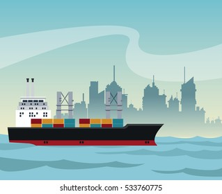ship cargo container maritime transport urban background