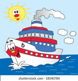 ship cartoon illustration