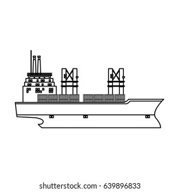 ship container cargo delivery crane outline