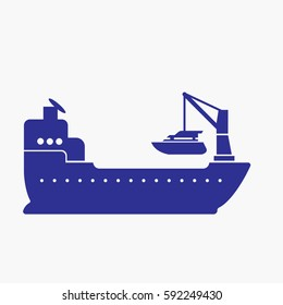 Ship and Crane Icon. Flat Isolated  Graphic Vector Silhouette Symbols. Blue Colors
