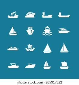 ship cruise yacht icon set
