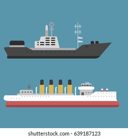 Ship cruiser boat sea symbol, vessel travel industry vector sailboats, cruise set of marine icon