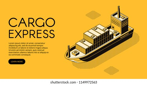 Ship delivery vector illustration of thin line art in black isometric halftone style. Maritime transport cargo logistics technology of boat shipping containers and parcel boxes on yellow background