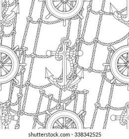 Ship equipment  zentangle seamless pattern. Adult antistress coloring page. Vector illustration.