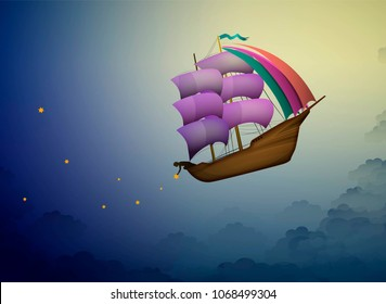 ship in the evening sky in clouds,  fairy boy putting stars on the night sky, fairy dreamland sailor on the heavens, ship on the sky in clouds