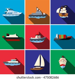 Ship flat icon set illustration isolated vector sign symbol