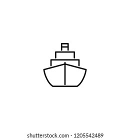 ship floating boat symbol line black icon on white background