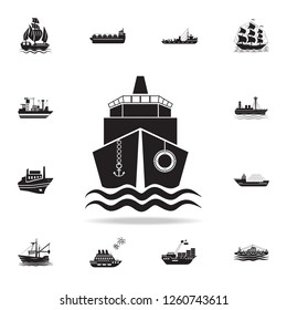 ship front view icon. Detailed set of ship icons. Premium graphic design. One of the collection icons for websites, web design, mobile app