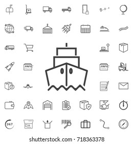 Ship front view line icon logistics transportation parcel shipping delivery icons set Flat isolated on the white background. Vector illustration.Trendy style for graphic design logo