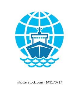 Ship & Globe Sign. Vector logo template. Design element.