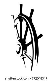 ship helm design - black and white steering wheel vector illustration