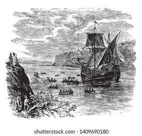 Ship of Henry Hudson who was an English sea explorer and navigator ,vintage line drawing or engraving illustration.