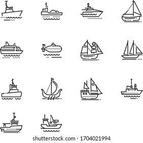 Ship icon. Boat icon. Water transportation icon set.