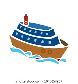 Ship icon. Cruise, tour, delivery concept, Marine boat. Transportation sign Isolated on white background