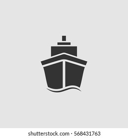 Ship icon flat. Black pictogram on grey background. Vector illustration symbol