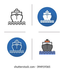 Ship icon. Flat design, linear and color styles. Sea transportation vessel. Cargo shipping. Tanker isolated vector illustrations