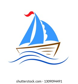 Ship icon on the wave – stock vector