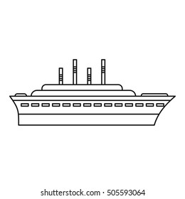 Ship icon. Outline illustration of ship vector icon for web