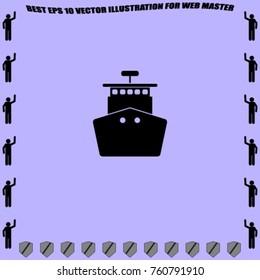 Ship icon, sea liner vector illustration