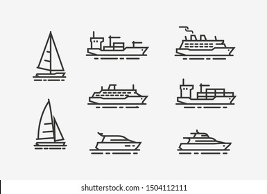 Ship icon set. Shipping, cruise symbol. Linear style vector illustration