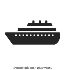 Ship icon vector. Shipping symbol. Container pictogram, flat vector sign isolated on white background. Simple vector illustration for graphic and web design.