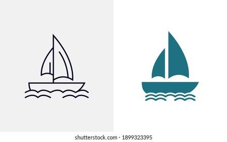 Ship icon vector template, Travel design icon concepts, Creative design