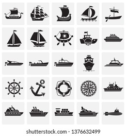 Ship icons on squares background for graphic and web design. Simple vector sign. Internet concept symbol for website button or mobile app