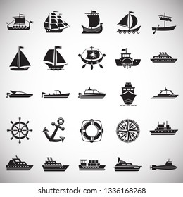 Ship icons on white background for graphic and web design. Simple vector sign. Internet concept symbol for website button or mobile app