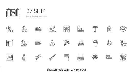 ship icons set. Collection of ship with rudder, metro, rocket ship, cannon, oils, fuel, dolphin, trireme, space station, anchor, train, meteorite. Editable and scalable icons.